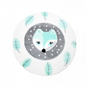 Kinderteppich Fuchs in Mint rund